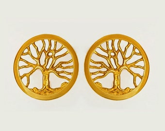 Dainty 14k gold small Tree of Life earrings, Gold Joshua tree of life earrings, Gold Kabbalah Tree of life earrings, Mini Gold tree earrings