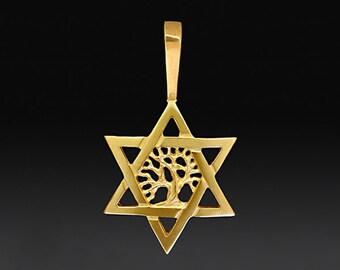 14K gold star of David with Joshua tree, Star of David pendant with Joshua tree of life, Gold Judaic Jewelry, Gold Jewish star, Joshua tree.
