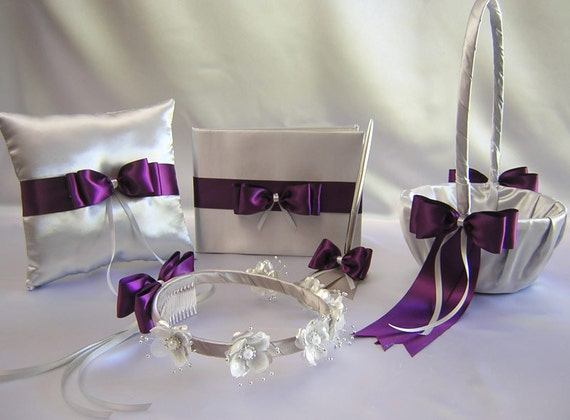 Wedding Silver Gray Eggplant Purple Flower Girl Basket