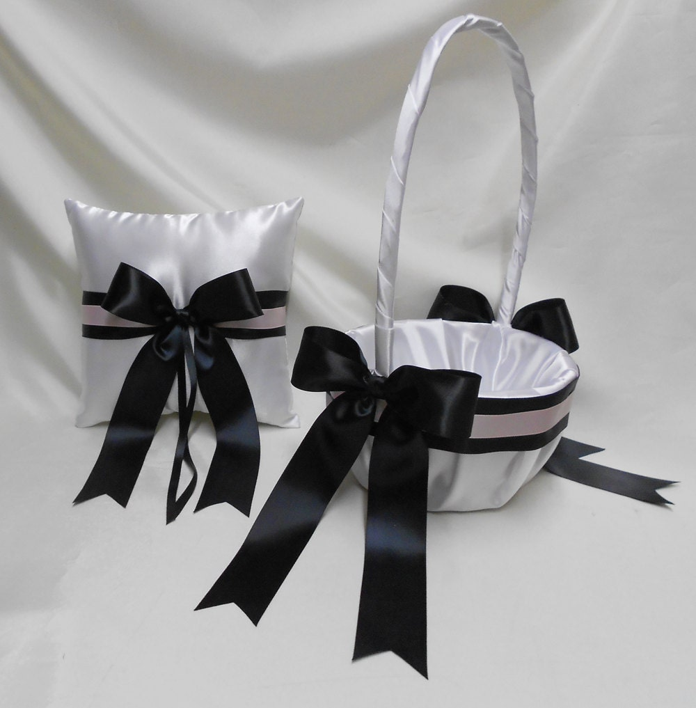 Wedding Accessories White Black Light Pink Flower Girl Basket Etsy
