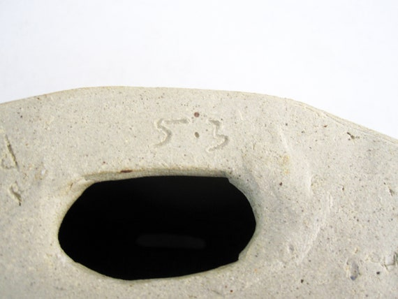 Signed. 1960/'s Brutalist Weed Pot in Dark Earth Tone Glaze