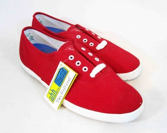 Vintage Keds Deck Shoes in Red and White. New Old Stock. Circa 1990's.