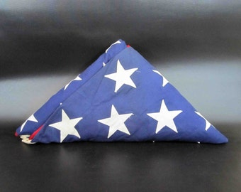 """Vintage 1970's Embroidered 50 Star US Flag. Made by Valley Forge Flag Co. 111"""" x 58"""""""