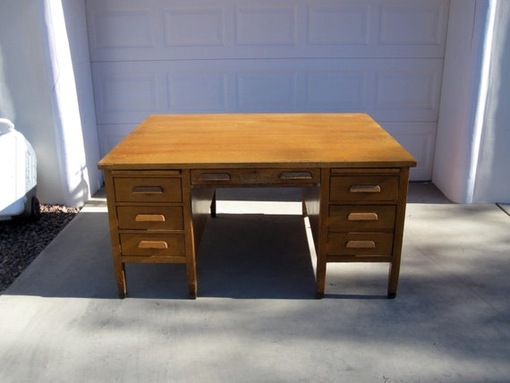 image 0 - Antique Art And Crafts Mission Style Oak Partners Desk. Circa Etsy