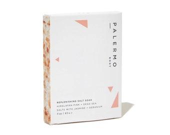 Replenishing Salt Soak Sample Size // Himalayan Pink + Dead Sea Salts // sore muscle rejuvenation // relaxing gift // vegan skincare //