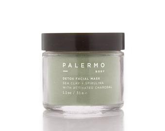 Detox Facial Mask // Sea Clay + Spirulina // activated charcoal // natural ingredients // vegan skincare // essential oils //