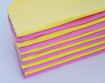 ECO CLOTH WIPES / Set of 12 / Pink Yellow Cotton Cloth Wipes