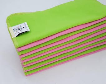 ECO CLOTH WIPES / Set of 12 / Pink Green Cotton Cloth Wipes