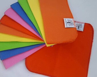 ECO CLOTH WIPES / Set of 12 / Rainbow Cotton Cloth Wipes