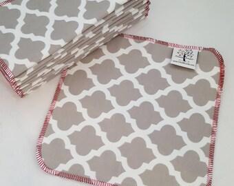 ECO CLOTH WIPES / Set of 12 / Grey Arabesque Cotton Cloth Wipes