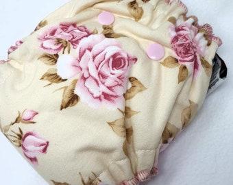 NEWBORN CLOTH DIAPER (6-12#) Waterproof AI2 w/Bamboo Hemp //rose diaper,girly,petite,flower,roses newborn,diaper,nappy,gift,baby,shower,prop