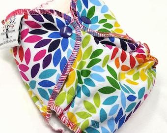 NEWBORN CLOTH DIAPER (6-12#) Waterproof AI2 w/Bamboo Hemp // rainbow petals,rainbow baby,rainbow newborn,diaper,nappy,gift,baby,shower,prop