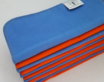 ECO CLOTH WIPES / Set of 12 / Red Blue Cotton Cloth Wipes