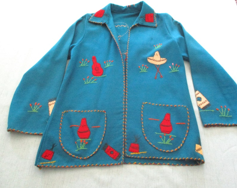 Mexico Vintage 1950s Childs Deep Teal Embroidered Felt JacketCoat With Two Pockets Sombrero Guitar Dancers