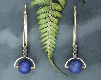 Minimal Half Moon Gold Fill Lapis and Hematite Drop Earrings