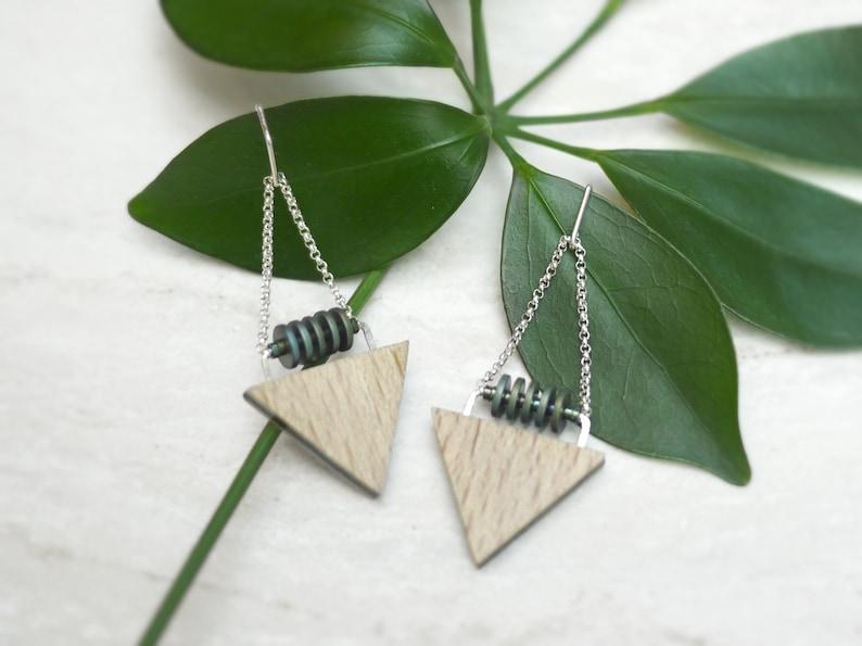 Modern Wood Triangle and Hematite Earrings