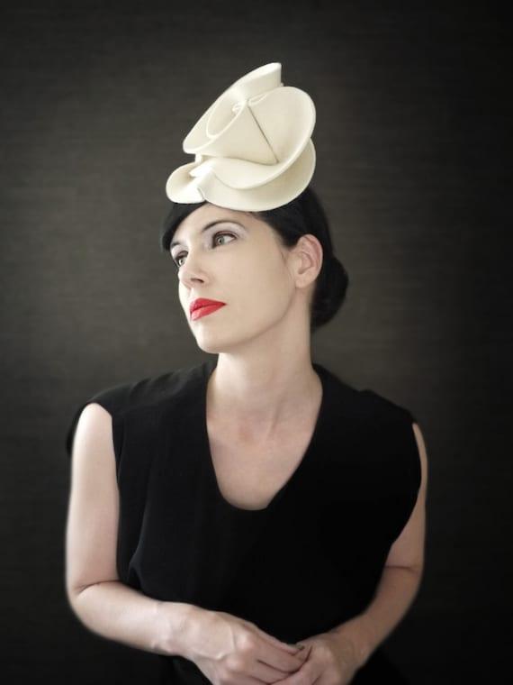 Cream Felt Fascinator Hat - Guggenheim Series - Made to Order b12e62ff497