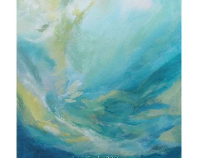 Original Expressionism Abstract Painting Modern art ebsq Turquoise yellow blue. Rush of light