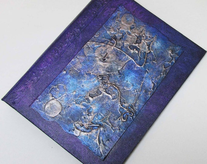 Handmade 9x7 Journal Refillable faux raku Texture patch Violet blue Original traveller notebook fauxdori