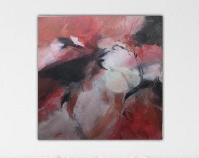 Sixth Sense. Original Expressionism Abstract Painting Modern art contemporary Black red gray ivory.