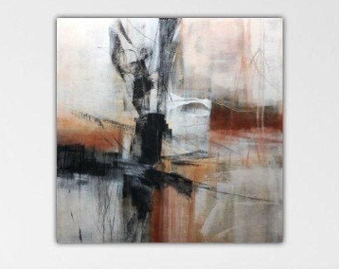 Indefinitely. Suspension series. Original Abstract Painting Modern art Black white burnt sienna gray.