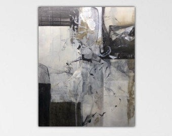 Up in the Air. Original Expressionism Abstract Painting Modern art Black white gray cream.