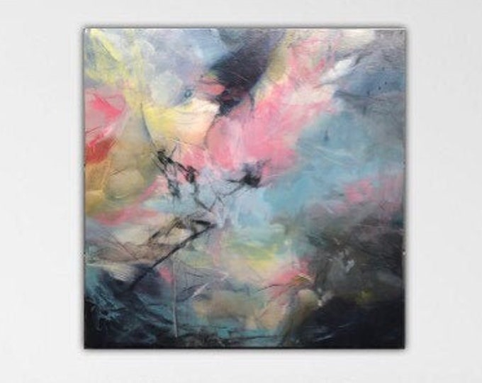 Weathering Heights I. Original Expressionism Abstract Painting Modern art contemporary Blue white pink gray cream.