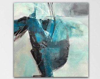 Emerging. Acrylic Abstract Original Art Modern Contemporary Painting grey turquoise black. Detour series.