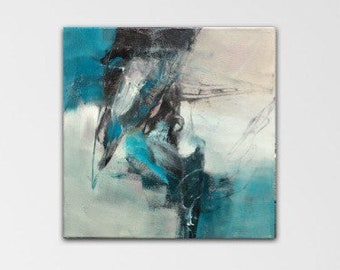 Mapping Out. Acrylic Abstract Original Art Modern Contemporary Painting grey turquoise black. Detour series.