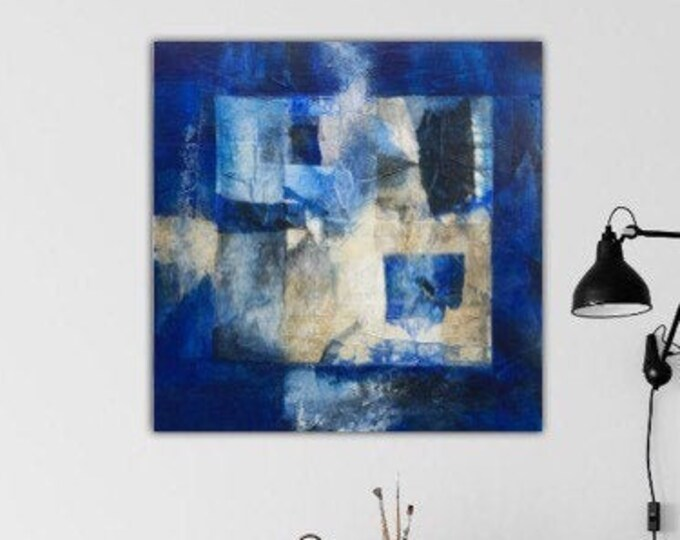 Sodalite II. Original Mixed media Abstract collage Painting Modern contemporary art Blue black ivory. Remnants series.