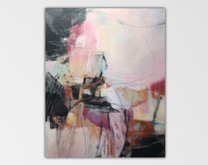 Masked Out. Original Expressionism Abstract Painting contemporary art. Pale pink. ivory. Black. Suspension series.