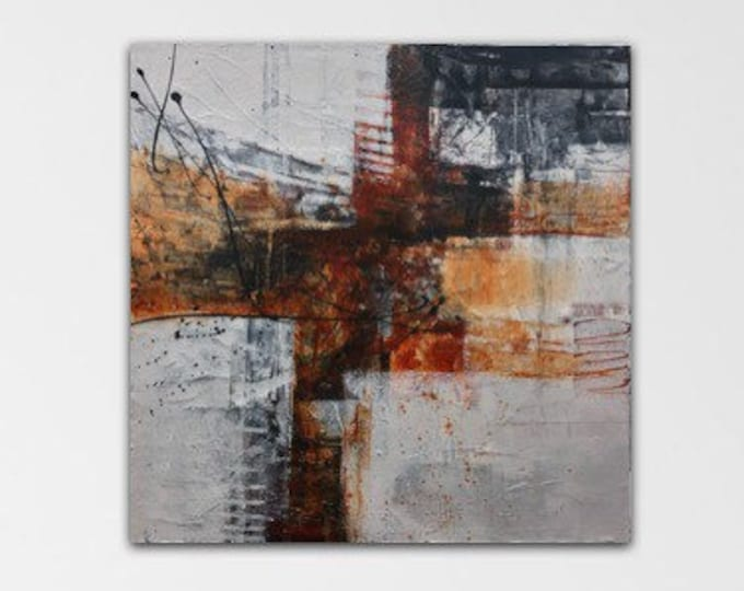 Carnelian II Original Mixed media Abstract collage Painting Modern contemporary art Rust black grey. Remnants series.