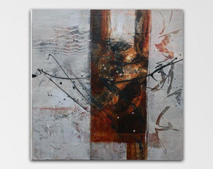 Carnelian I Original Mixed media Abstract collage Painting Modern contemporary art Rust black grey. Remnants series.