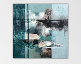 Shards. Original Mixed media Abstract Painting Modern art ebsq Black green. from the Remnants series.