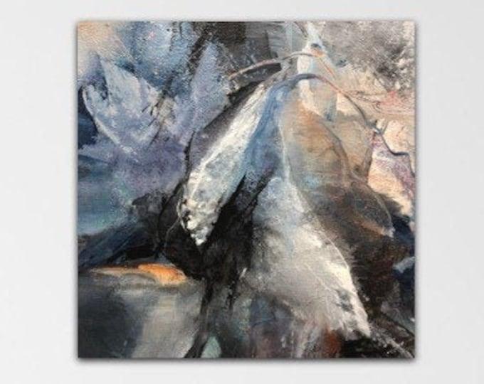 Storm Surge. Acrylic Abstract Original Art Modern Contemporary Painting indigo grey black. Wild Nights series.