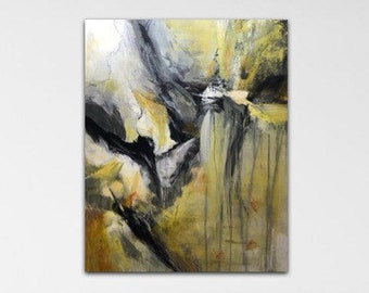 Pivot. Original Expressionism Abstract Painting Modern art Black yellow white gray cream.