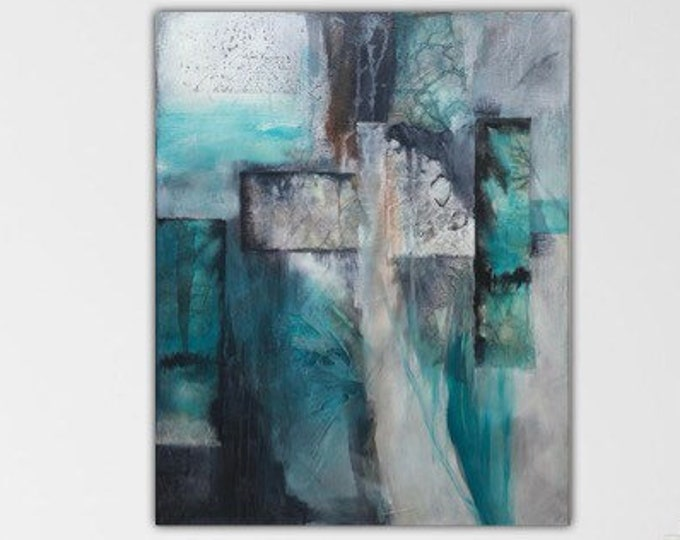 Turquoise I. Original Mixed media Abstract Painting Modern art. Turquoise black taupe ivory. from the Remnants series.