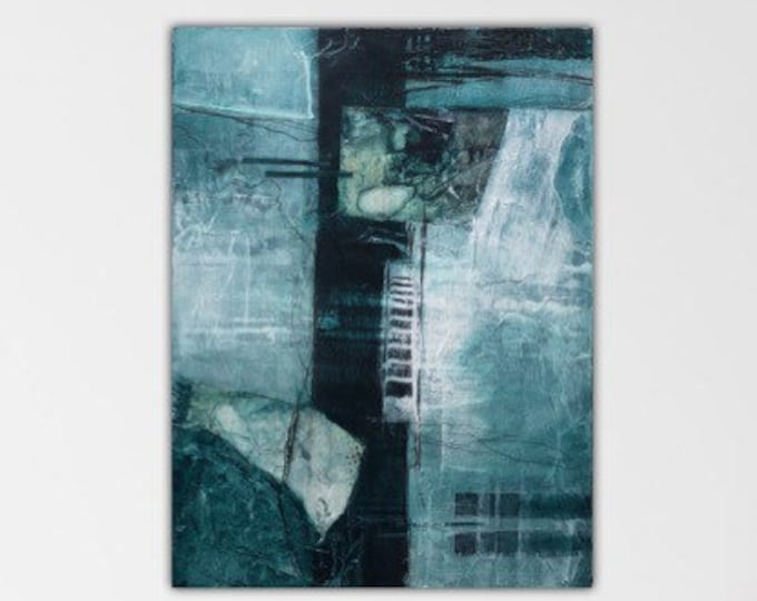 Malachite II. Original mixed media Expressionism Abstract Painting Modern art ebsq Black green ivory. Remnants series.