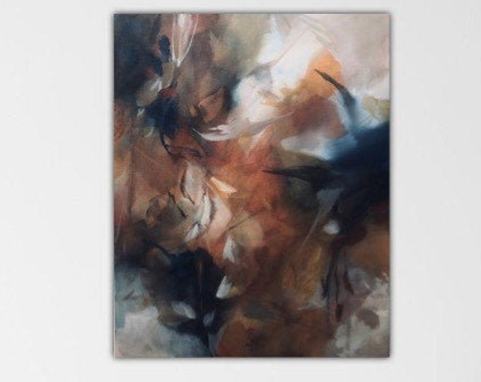 Hint of Autumn. Original Expressionism Abstract Painting contemporary art. Indigo burnt sienna ivory gold. Growing Wild series.