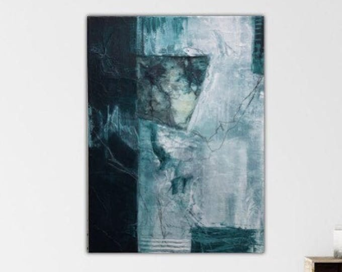 Malachite I. Original Mixed media Expressionism Abstract Painting Modern art Black green ivory. Remnants series.