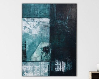 Malachite III. Original Mixed media Expressionism Abstract Painting Modern art Black green ivory. Remnants series.