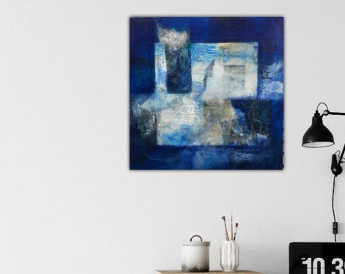 Sodalite I. Original Mixed media Abstract collage Painting Modern contemporary art Blue black ivory. Remnants series.