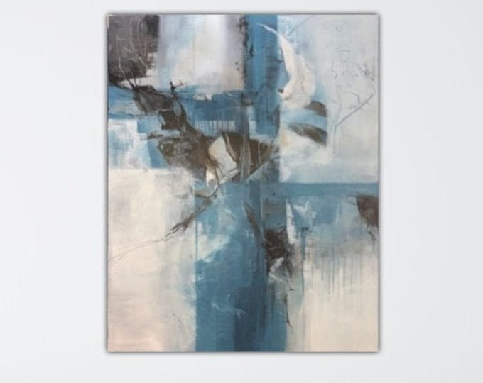 Distracting Structure. Original Expressionism Abstract Painting Modern art Blue black gray ivory.