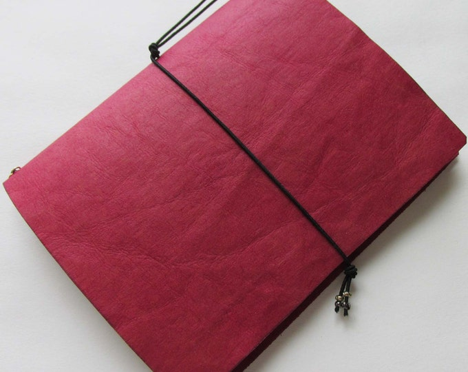 Junk journal with collage paper insert 6x5. mini travellers notebook style fauxdori red refillable