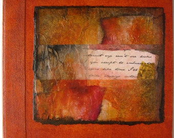 Handmade Refillable Journal Rust Rice Paper Collage Original 6x6