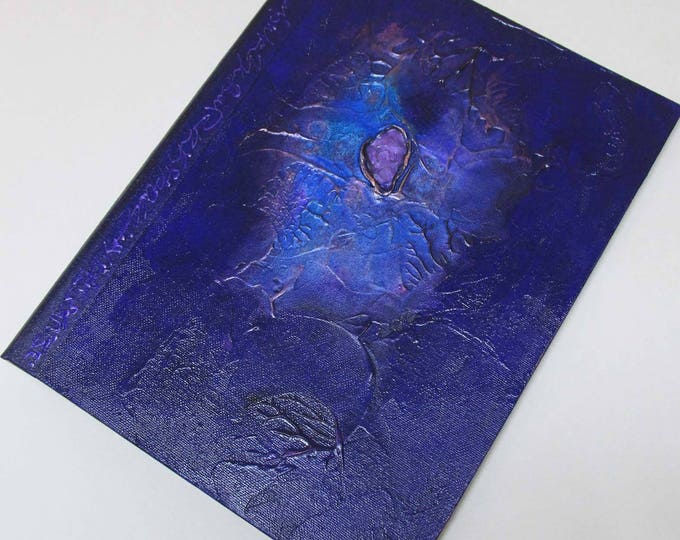 Handmade Journal Refillable Blue Violet Nebula 12x9 Original traveller notebook fauxdori