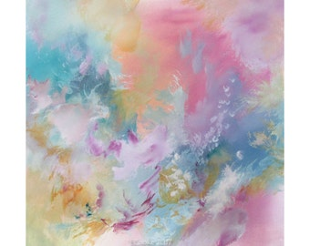Abstract Modern Expression Art Original Contemporary Painting pink blue yellow Musing 163