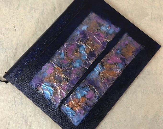 Handmade 9x7 Journal Refillable faux raku Texture patches Indigo blue Original traveller notebook fauxdori