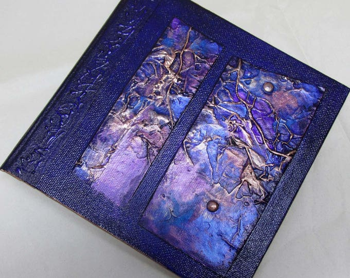 Handmade Refillable Journal Violet Texture Patch 6x6 Original travellers notebook hardcover fauxdori
