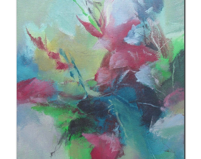 Acrylic Abstract Original Art Modern Contemporary Painting. Bloom 203 red blue green grey